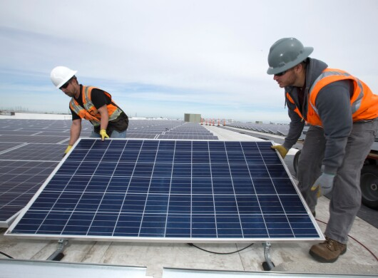 Solar panel being installed at Amazon