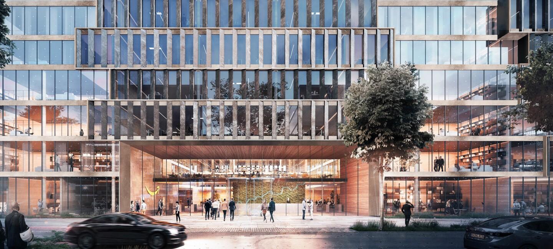 Das zukünftige Amazon Gebäude ist auf dem Bild visualisiert. Es hat eine große Fensterfront auf der Eingangsseite.