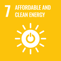 "UN SDG #7 reads ""Affordable and Clean Energy"" and features an icon of the sun with a power button in the middle."