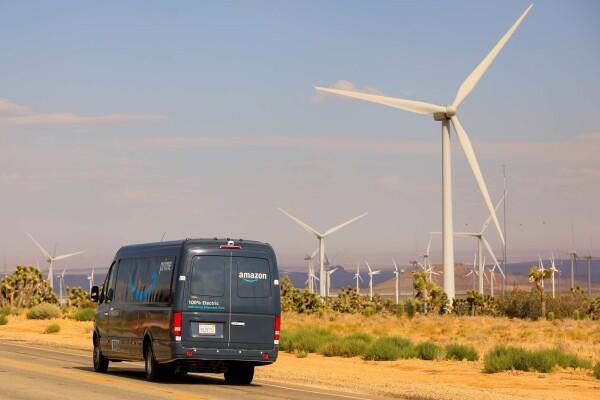 amazon electric van and wind turbines