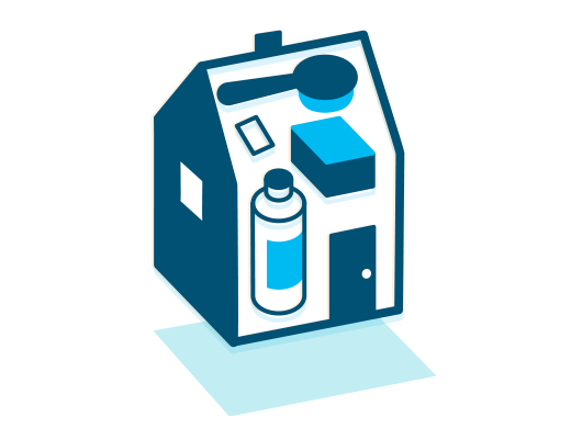 Blue icon of a house with various household products inside.