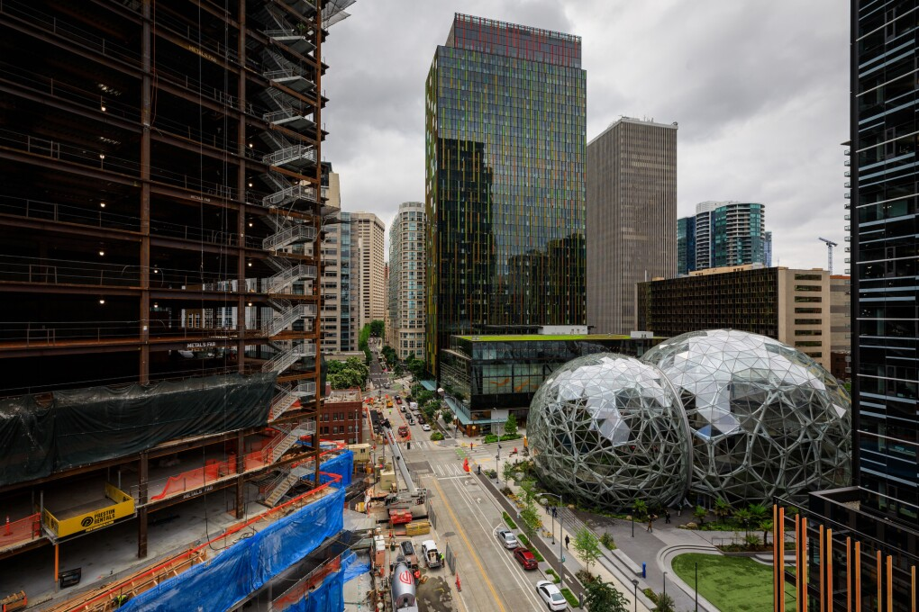 Buildings under construction on Amazon's South Lake Union campus. To the right, Amazon Day One, The Spheres, Amazon Meeting Center and Doppler buildings.