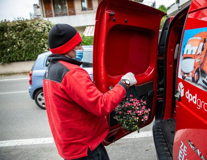 Un autista di BRT in uniforme rossa ed equipaggiamento protettivo scarica un'azalea della ricerca da un furgone rosso