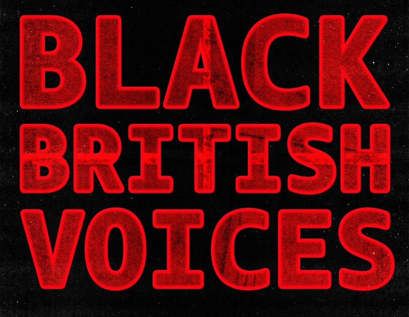 Black British Voices Playlist Cover with Amazon logo