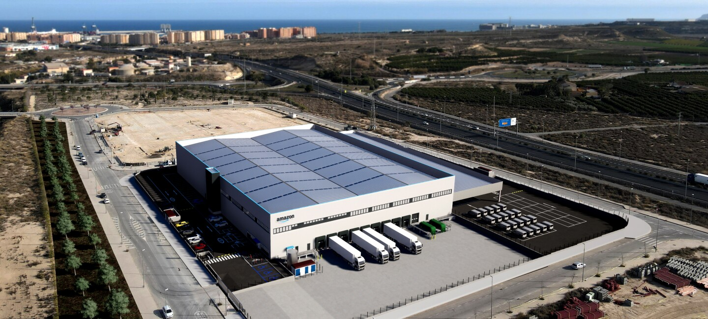 Aerial view, virtual render of the Amazon Logistics Center being built in Alicante, Spain