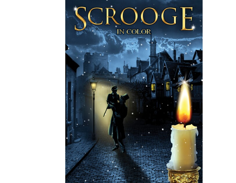 """Cover art for """"Scrooge"""" in color - a man stands on a brick road lifts a boy up in the air, in front of an old street light. behind him, is a city. In the foreground, a candle that's burned most of the way down."""
