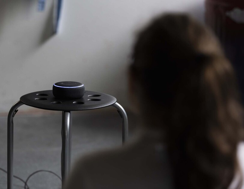 "High school students practice mindful meditation while using the new Alexa skill, ""Keep Calm"""
