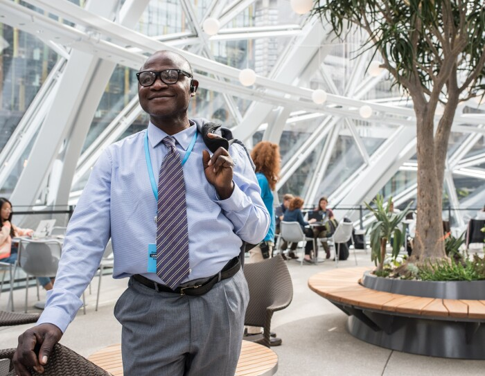 Francis Mensah, fulfilment centre employee at Amazon in Hemel Hempstead, pictured in the Amazon Spheres in Seattle