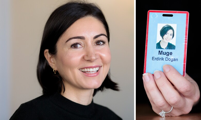 Photos of Muge Erdirik Dogan and her Amazon ID badge