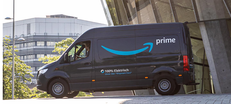 Mercedes Benz van with Amazon Prime branding on it.