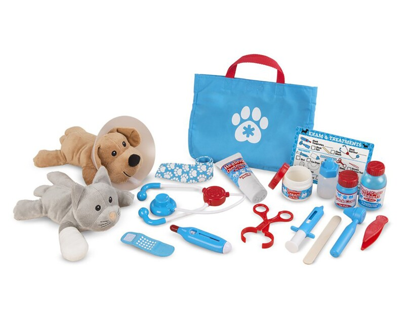 "A 24-piece Melissa & Doug Examine and Treat pretend play pet vet set with plush dog and cat, play stethoscope, thermometer, syringe, ear scope, tweezers, clamp, cast, bandages, ""treatments,"" and ""ointments,"" with a reusable double-sided checklist"