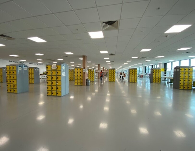 Lockers in the fulfilment centres have been moved further apart to aid social distancing