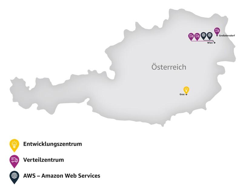 Die Österreichkarte zeigt die 6 Amazon Standorte auf.