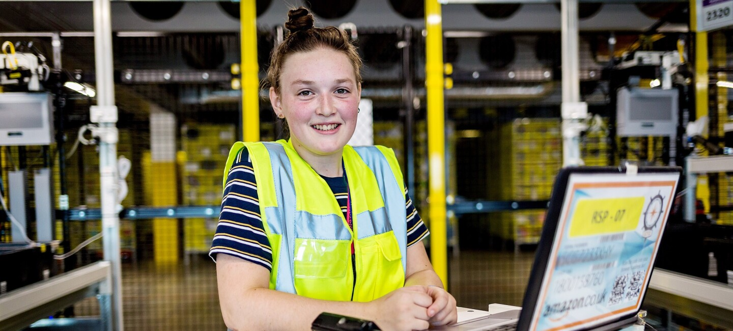 Rosie McCarthy, operations apprentice at Amazon in Tilbury, pictured at work