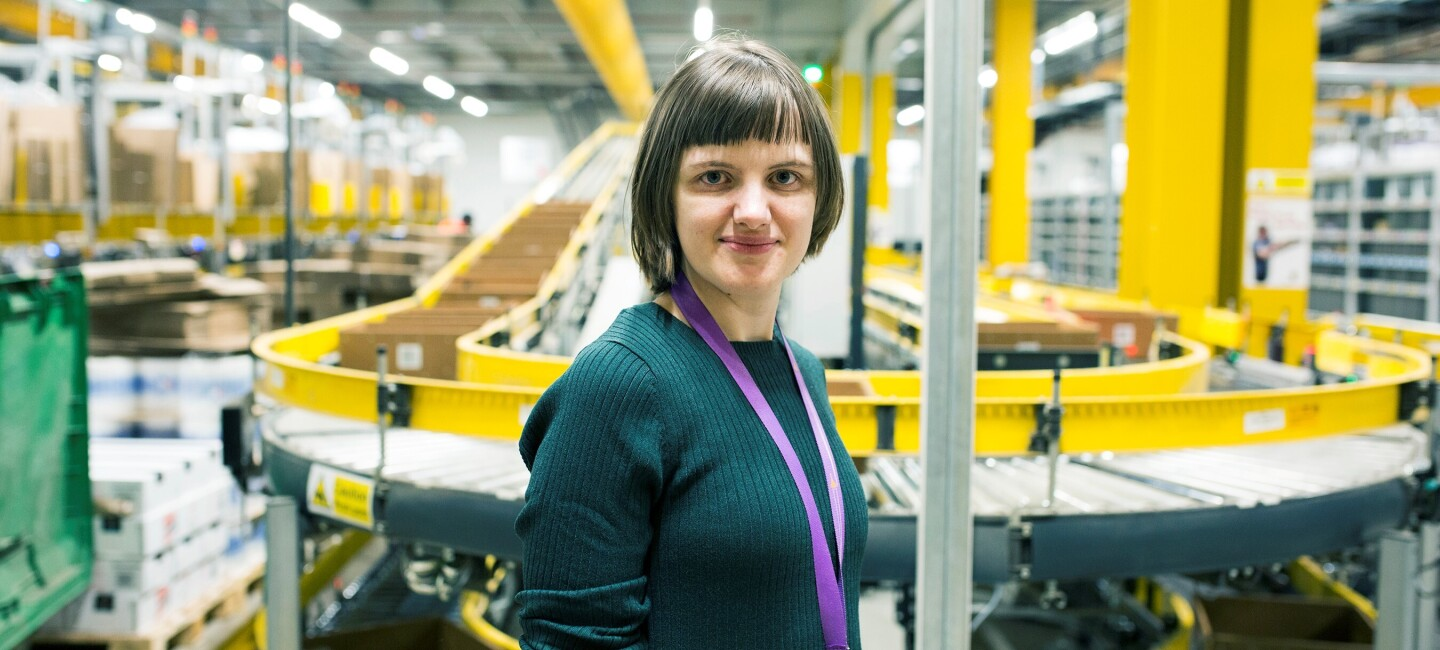 Jelena Skorodumova, fulfilment centre employee at Amazon in Manchester, pictured at work