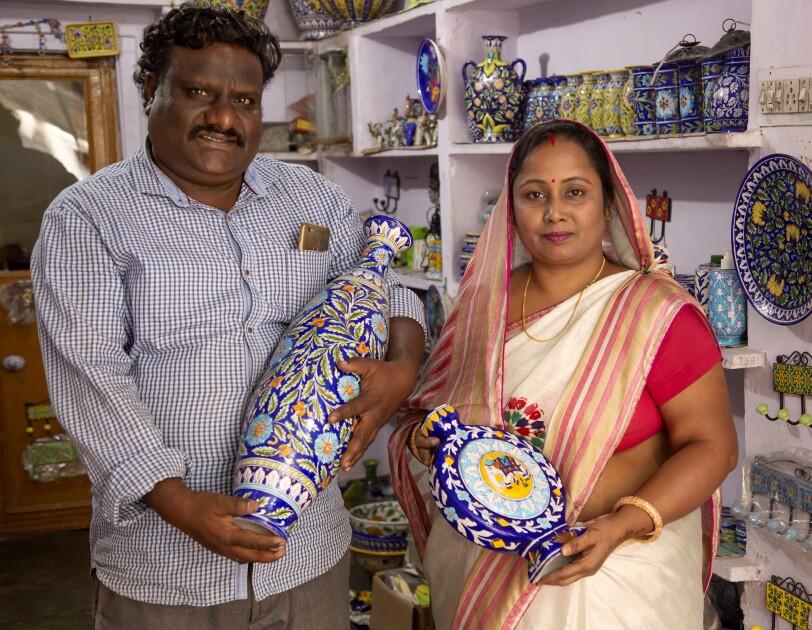 Aditya Blue Art Pottery couple - Amazon India