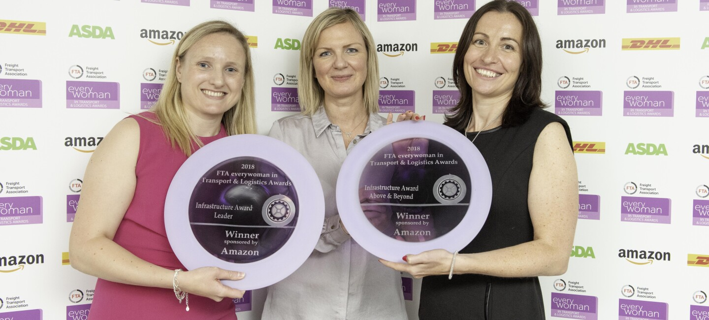 Winners of the 2018 FTA everywoman in Transport & Logistics Awards, pictured holding their trophies