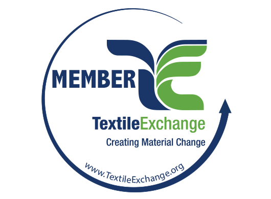 Member Textile Exchange: Creating Material Change logo on white background.