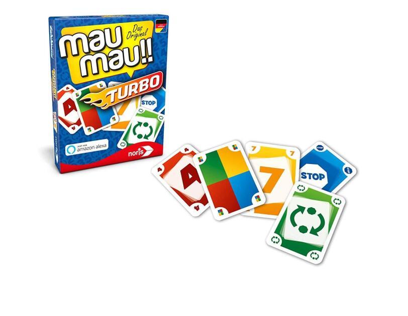 Abbildung des Spiels Mau Mau Turbo von Noris, erhältlich bei Amazon.de.