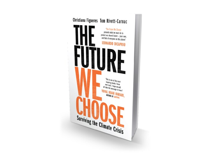 A render of Christiana Figueres' book, The Future we choose