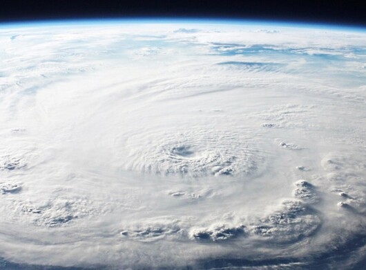Satellite image from space showing the formation of a hurricane