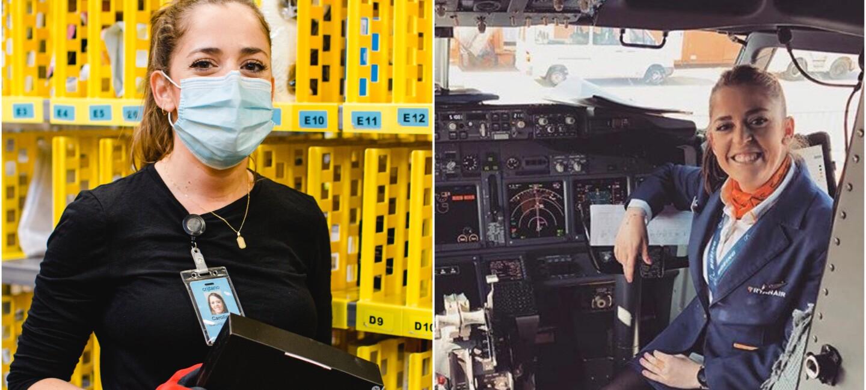 2 Bilder: Carolina im Logistikzentrum und im Cockpit