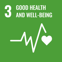 "UN SDG #3 reads ""Good Health and Well-Being"" and features an EKG/ECG graph that ends with a heart icon."