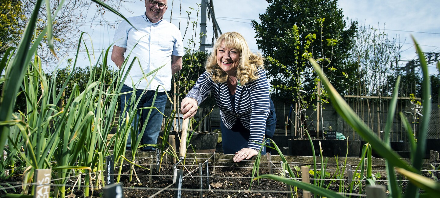 Amazon employee Gillian Maxwell helps out at the community garden in Gourock