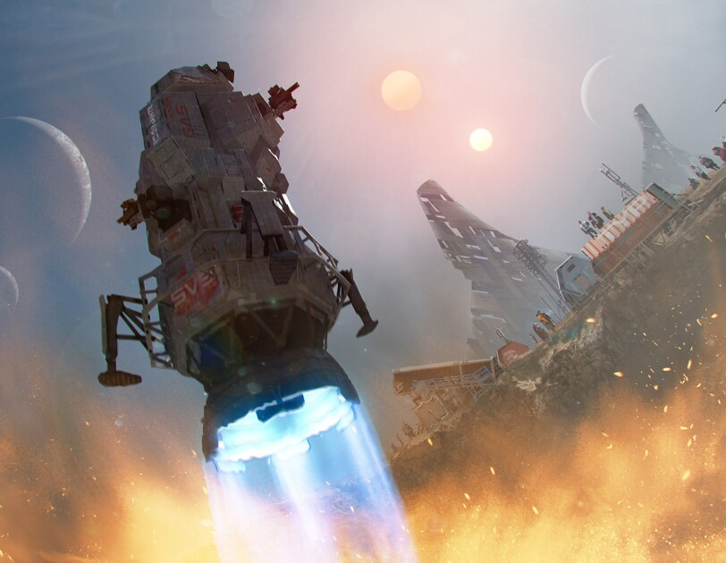 Concept art from The Expanse, showing a key component of the show, the Rocinante, landing.