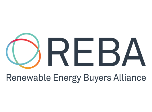 REBA: Renewable Energy Buyers Alliance logo on a white background.