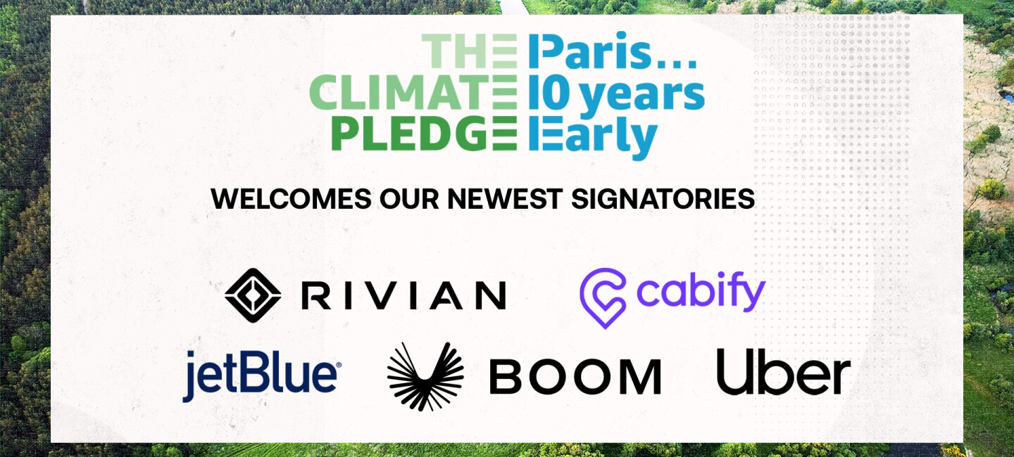 Logo of Climate Pledge Transportation Signatories - Rivian, JetBlue, Cabify, Boom and Uber