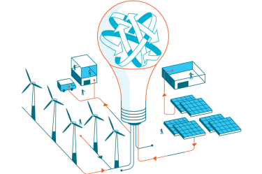 Illustration showing a light bulb in the center of solar panels, wind farms, and operation centers.