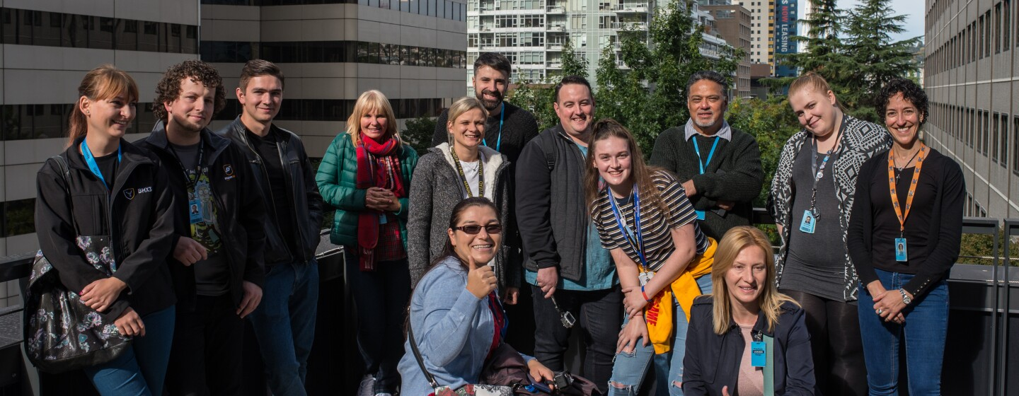 Participants in the 'I Found The Right Place' UK 2018 programme pictured in Seattle with the Space Needle in the background