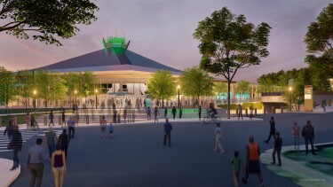 Rendering of the new Climate Pledge Arena in Seattle, Washington