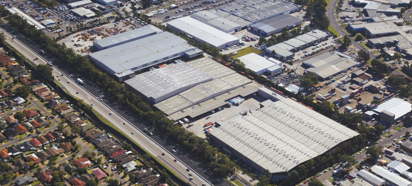 An aerial view of an Amazon fulfilment centre in Australia.