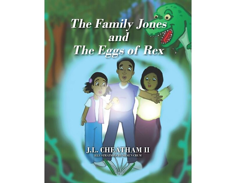 The book cover of The Family Jones and The Eggs of Rex by J.L. Cheatham II. It features a family (mother, father, and daughter) looking at a bright light.