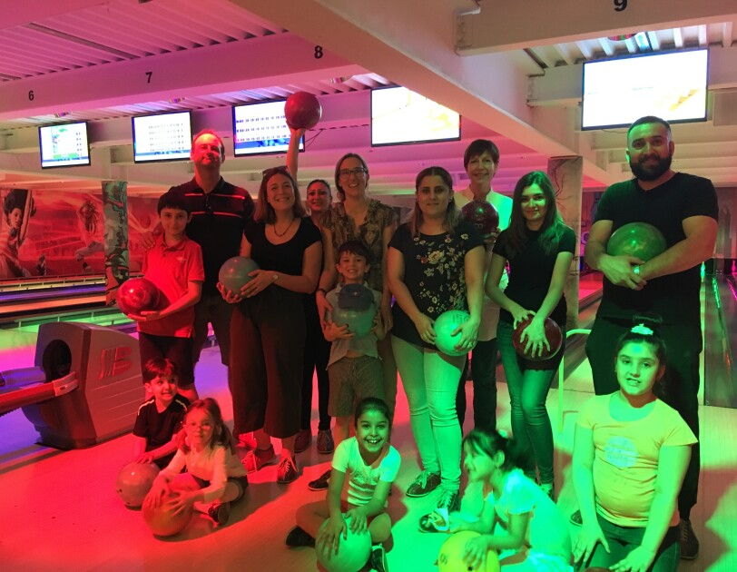 Amazon in the Community goes to bowling with the kids of Caritas Luxembourg