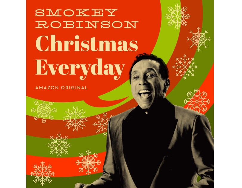 "Smokey Robinson album cover, with Smokey, in black and white, appearing to be singing. A red speech bubble is coming out of his mouth, and says ""Smokey Robinson, Christmas Everyday."" Behind him are red and green concentric circles, with snowflakes overlaid on the circles."