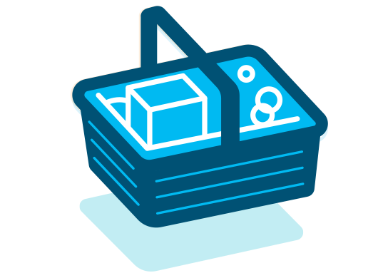 Graphic icon of a blue basket carrying various items.