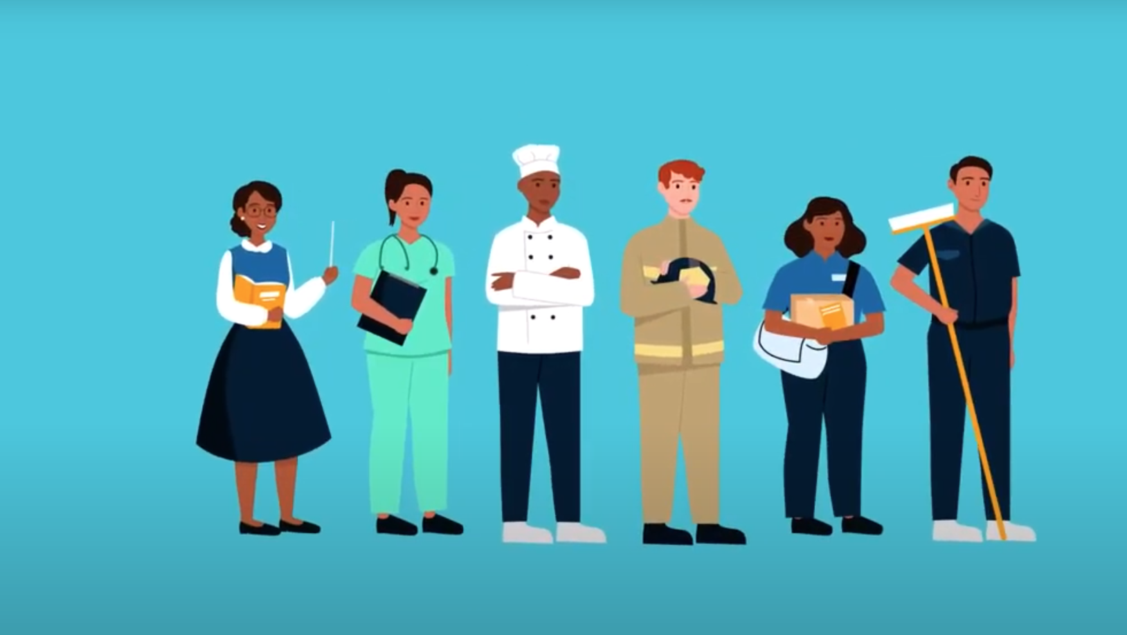 Amazon Housing Equity Fund video thumbnail showing an illustration of people dressed for different career.