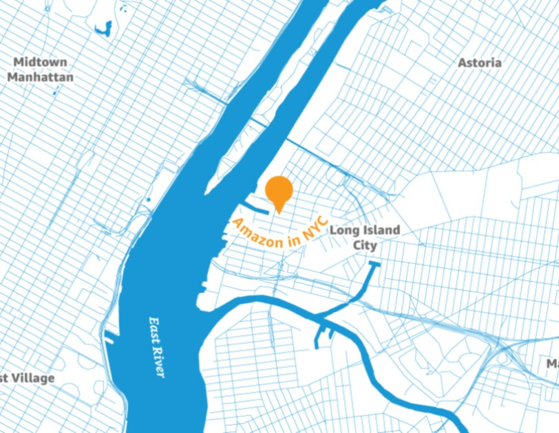 Map of the New York City area with a pin placed to illustrate the location of a new Amazon headquarters.