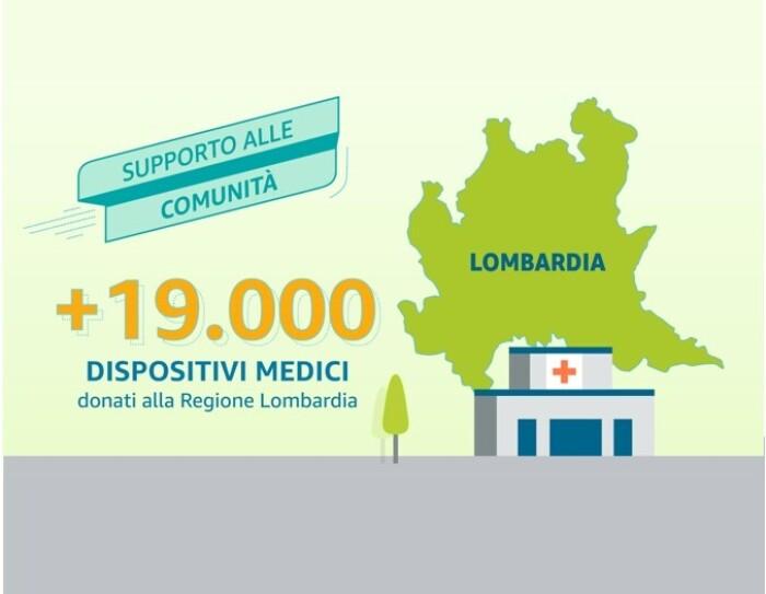 A sinistra, sagoma della Regione Lombardia e illustrazione di un ospedale. A destra, una scritta recita '+19000 dispositivi medici donati alla Regione Lombardia'.