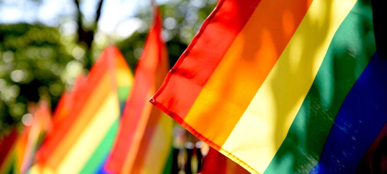 Eine Regenbogenfahne