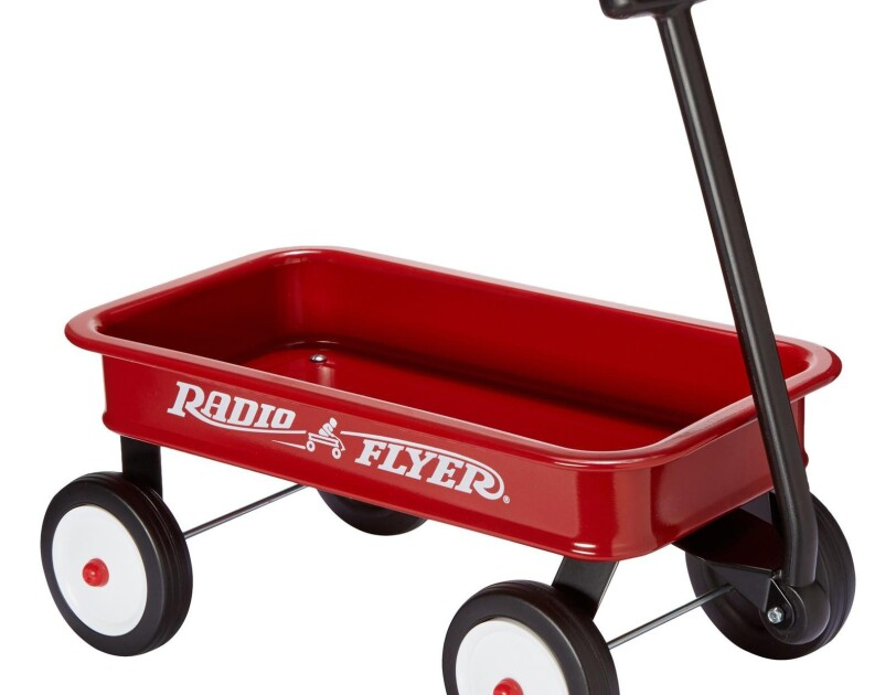 A toy version of the original Radio Flyer wagon with a real steel stamped body with no-scratch edges, working handle with front wheel steering and durable molded wheels for lasting quality.