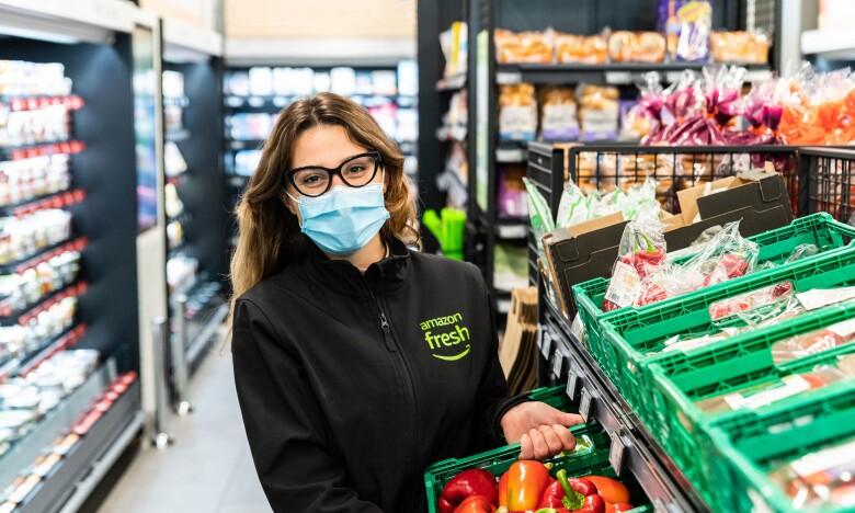 Ntaiana Karamoutsa working at the Amazon Fresh store in Ealing Broadway