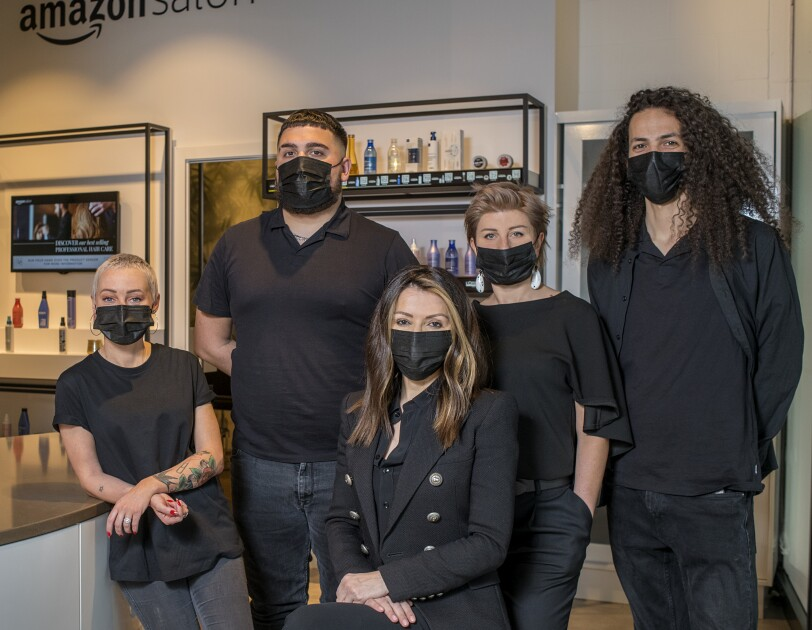 Amazon Salon stylists with masks