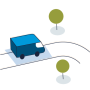 An illustration of an energy efficient Amazon truck representing the transportation component of Shipment Zero.