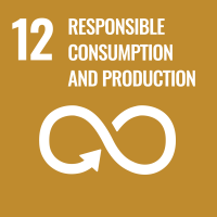 "UN SDG #12 reads ""Responsible Consumption and Production"" and features the closed loop symbol with an arrow indicating directional flow."