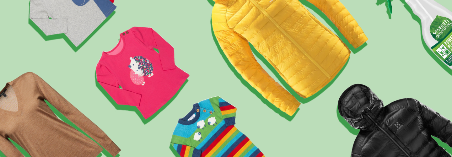 Climate Pledge Friendly products including bright yellow jacket, Cif, Coffee and pink long sleeved childrens top