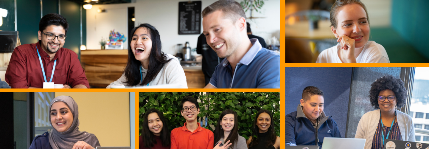 Collage of pictures showing students from different countries that have been working with Amazon across EMEA.
